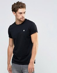 Asos T Shirt With Roll Sleeve And Logo In Black Black