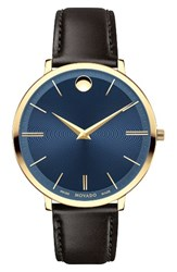 Movado Women's Ultra Slim Leather Strap Watch 35Mm