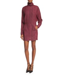 Mcq By Alexander Mcqueen Printed Long Sleeve Turtleneck Dress Pink Pink Micro Dot