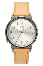 Canton And Hall Men's Davis Slim Leather Strap Watch 40Mm Khaki Camel