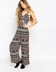 Kiss The Sky Ubud Jumpsuit With Cut Out Waist Multi
