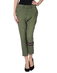 People Trousers 3 4 Length Trousers Women Military Green