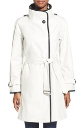 Women's Gallery Plaid Lined Belted Asymmetrical Trench Cloud