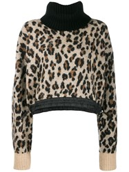 Sacai Leopard Knit Jumper Brown