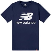 New Balance Essentials Stacked Logo Tee Blue