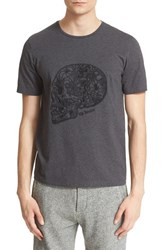 Men's The Kooples Embroidered Skull Graphic Brushed Cotton T Shirt