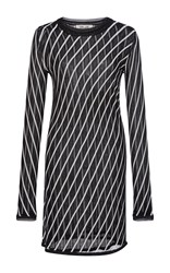 Diane Von Furstenberg Long Sleeve Striped Knit Dress Black White