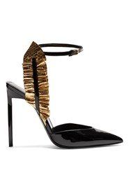 Saint Laurent Edie Ruffle Trimmed Patent Leather Pumps Black Gold