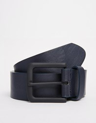 Asos Belt In Navy Faux Leather With Black Buckle Blue