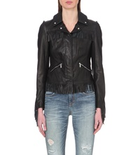Karen Millen Fringed Leather Jacket Black