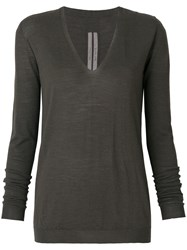 Rick Owens V Neck Sweater Grey