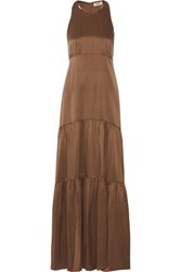 L'agence Talia Tiered Pleated Washed Silk Maxi Dress Brown