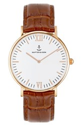 Kapten And Son Women's 'Campina' Leather Strap Watch 36Mm Brown White Rose Gold