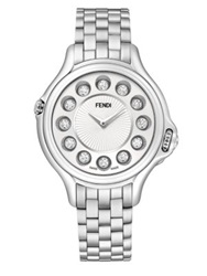 Fendi Crazy Carats Diamond Multicolor Topaz And Stainless Steel Medium Bracelet Watch White Silver