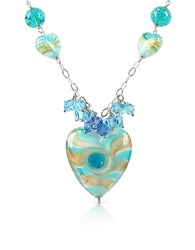 House Of Murano Vortice Turquoise Glass Swirling Heart Sterling Silver Necklace