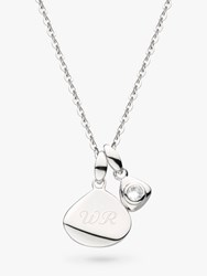 Kit Heath Personalised Sterling Silver Pebble And Tag Birthstone Pendant Necklace