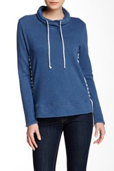 Nation Ltd. Alexis Lace Up Sweatshirt Blue
