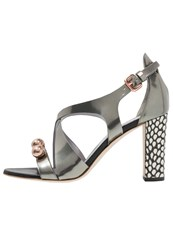 Pollini Normandie High Heeled Sandals Steel Bone Black Silver