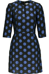 Suno Polka Dot Jacquard Mini Dress Royal Blue