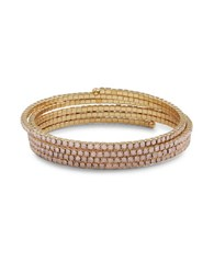 Design Lab Lord And Taylor Stone Accented Wrap Bracelet Pink