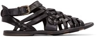 Officine Creative Black Leather Woven Strap Sandals