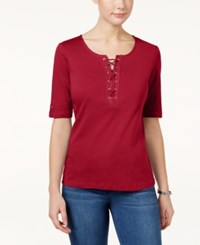 Karen Scott Lace Up Cotton T Shirt Only At Macy's New Red Amore