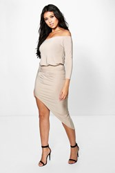 Boohoo Off Shoulder Long Sleeve Midi Dress Stone