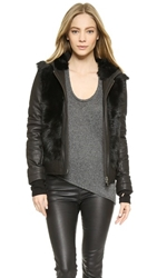 Helmut Lang Pillar Shearling Hooded Jacket Black