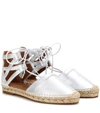 Aquazzura Belgravia Metallic Leather Espadrille Sandals Silver