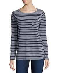Cj By Cookie Johnson Long Sleeve Striped Tee W Pocket Navy Grey