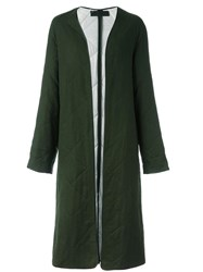 Haider Ackermann Collarless Quilted Coat Green