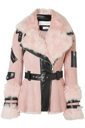 Alexander Mcqueen Leather Trimmed Shearling Biker Jacket Pink
