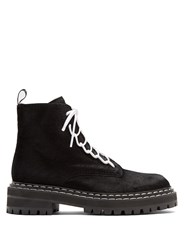 Proenza Schouler Tread Sole Calf Hair Ankle Boots Black