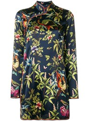 F.R.S For Restless Sleepers Printed Silk Dress Blue