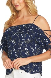 Cece Cold Shoulder Laced Sleeve Floral Top Naval Navy