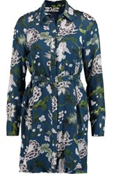 Adam By Adam Lippes Belted Floral Print Silk Mini Shirt Dress Storm Blue