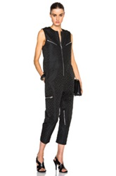 Alexander Wang Flight Suit Romper With Back Knit Detail In Black Animal Print