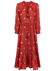 Ulla Johnson Crimson Cotton Floral Clementine Dress Red