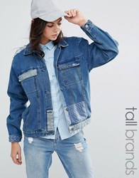Waven Tall Patchwork Denim Jacket Denim Wash Blue
