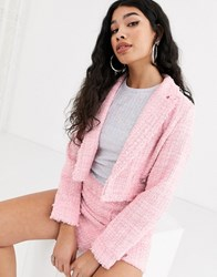 Bershka Cropped Jacket With Pocket In Pink
