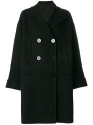 Neil Barrett Ribbed Detail Double Breasted Coat Cotton Polyamide Spandex Elastane Wool Black