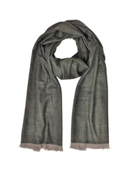 Marina D'este Long Scarves Zigzag Stripe Cashmere Silk And Wool Long Scarf W Fringes