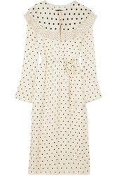Mother Of Pearl Lenox Pleated Polka Dot Satin Midi Dress Ivory