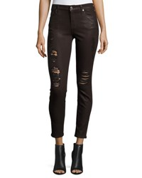 7 For All Mankind The Ankle Skinny With Distressing Coated Fashion Coated Fashion 2