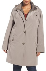 Gallery Plus Size Women's Two Tone Long Silk Look Raincoat Desert Sand