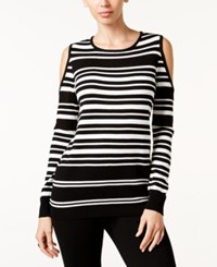Thalia Sodi Striped Cold Shoulder Sweater Only At Macy's Deep Black Combo