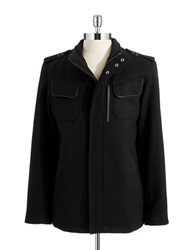 Cole Haan Wool Coat With Faux Leather Trim Black