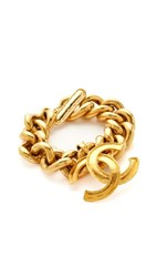 Wgaca What Goes Around Comes Around Chanel Cc Dangle Bracelet Previously Owned Gold