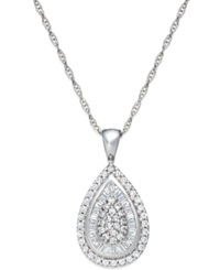 Wrapped In Love Diamond Teardrop Pendant Necklace In 14K White Gold 1 2 Ct. T.W.