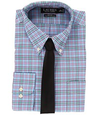 Lauren Ralph Lauren Non Iron Poplin Slim Button Down Collar Plaid Dress Shirt Trindad Blue Men's Clothing